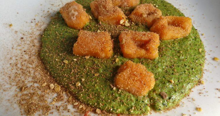 Gnocchetti di Zucca su crema di Cavolo Nero, Mandorle e Semi di Zucca con polvere piccante di Lenticchie e Cacao