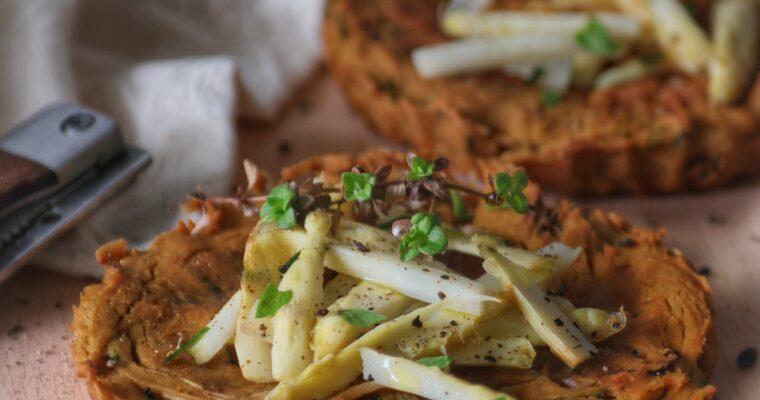 Frittatine Vegane di Asparagi bianchi e Farina di Lupini al Timo
